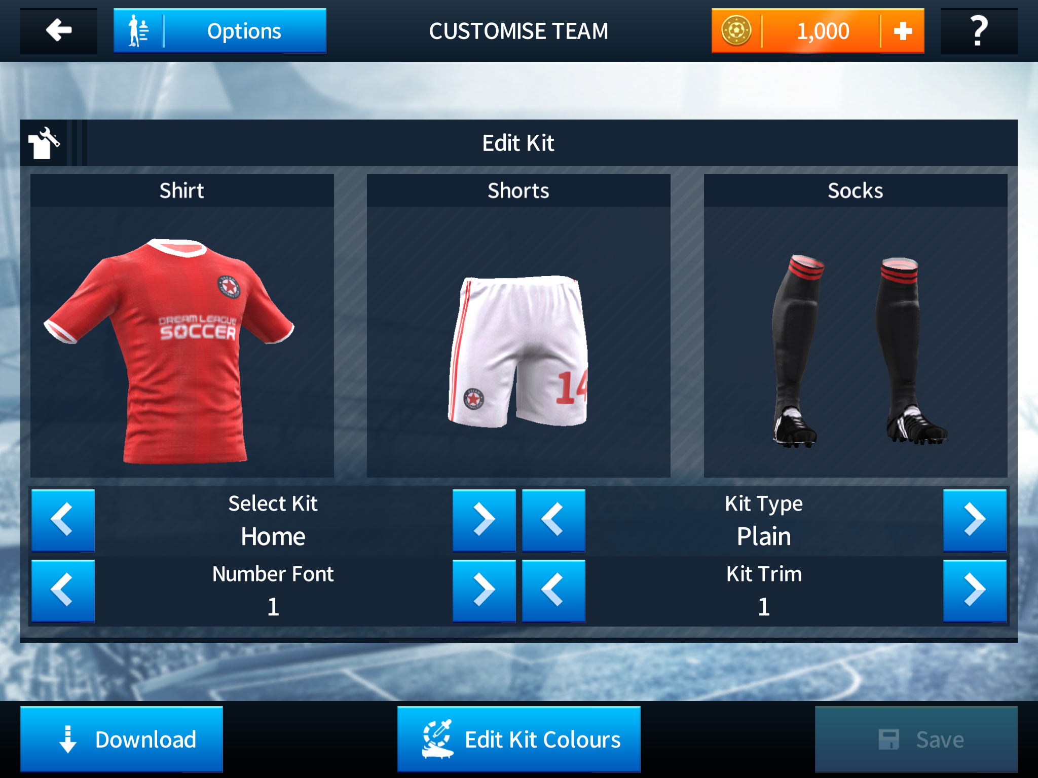how do i customise my kit logo in dream league soccer first
